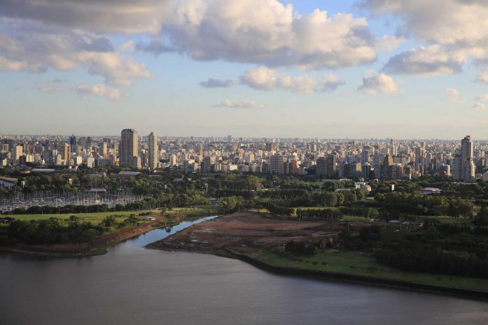 Aerial shot over Buenos Aires from the water
